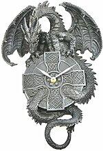 Ars-Bavaria Stylische Wanduhr Schwarzer Drache