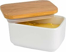 Arswin Porzellan-Butterdose mit Bambusdeckel,