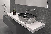 Art & Bath LAV. nalón. NP Waschbecken auf Waschtischplatte, silber-glanz, S