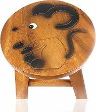 ART-CRAFT KH018 Kinderhocker Holz Schemel mit Motiv Maus bemalt und beschnitzt Höhe 27 cm