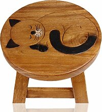 ART-CRAFT KH020 Kinderhocker Holz Schemel mit Motiv schlafende Katze bemalt und beschnitzt Höhe 27 cm