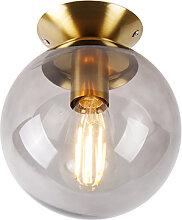 Art Deco Deckenlampe Messing mit Rauchglas - Pallon