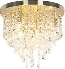 Art Deco Deckenleuchte Messing mit Glasperlen 35
