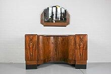 Art Deco Frisiertisch & Spiegel aus Nussholz,