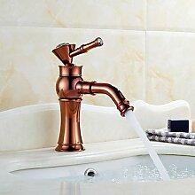 Art déco/Retro 3-Loch-Armatur drehbarer with Keramisches Ventil Einhand Ein Loch for Rotgold , Waschbecken Wasserhahn