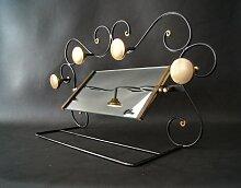 Art Deco Schmiedeeisen Glas & Messing Garderobe