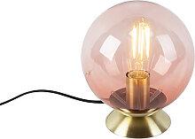 Art Deco Tischlampe Messing mit rosa Glas - Pallon