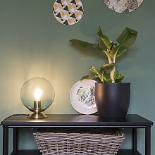 Art Deco Tischleuchte Messing mit eisblauem