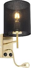 Art Deco Wandlampe Gold mit schwarzem
