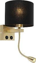 Art Deco Wandlampe Gold mit schwarzem Schirm -
