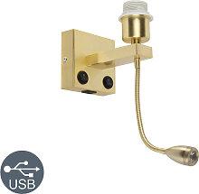 Art Deco Wandlampe Gold mit USB und Flexarm -