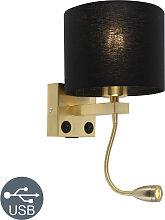 Art Deco Wandlampe Gold mit USB und schwarzem