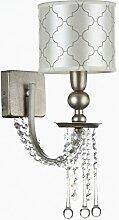 Art-Deco Wandleuchte|antik-gold Metall|klare Kristallketten| Zylinder Schirm mit Muster| Amerikanischer Stil| 1-flammig 1xE14 40W