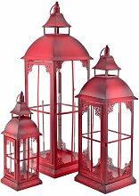 art decor Laterne Rot, Metalllaterne, 3er Set,