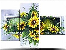 art-gallery XXL–100x 70cm–Blumen gelb–Wanduhr Tabelle–Deco Moderne–New Design