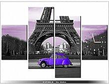 art-gallery XXL–120x 80cm–PARIS–La Tour Eiffel–Wanduhr Tabelle–Deco Moderne–New Design