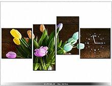art-gallery XXL–140x 70cm–Tulpen Farbige–Wanduhr Tabelle–Deco Moderne–New Design