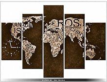 art-gallery XXL–150x 105cm–Die Weltkarte–Wanduhr Tabelle–Deco Moderne–New Design