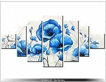 art-gallery XXL–200x 100cm–Blumen–Blau–Mohnblumen–Wanduhr Tabelle–Deco Moderne–New Design