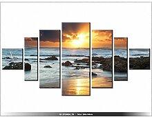 art-gallery XXL–200x 100cm–Sonnenaufgang auf Ozean–Wanduhr Tabelle–Deco Moderne–New Design