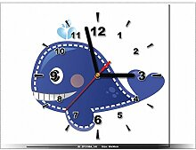 art-gallery XXL–30x 30cm–Blauwalflosse–Wanduhr Tabelle–Deco Moderne–New Design