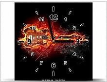 art-gallery XXL–30x 30cm–Gitarre in Flammen–Wanduhr Tabelle–Deco Moderne–New Design