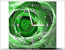 art-gallery XXL–30x 30cm–Rosa Fractal Green–Wanduhr Tabelle–Deco Moderne–New Design
