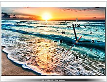 art-gallery XXL–60x 40cm–Sonnenuntergang–Strand–Landschaft Urlaub–Wanduhr Tabelle–Deco Moderne–New Design