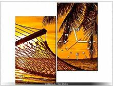 art-gallery XXL–60x 60cm–Hängematte am Strand im Sonnenuntergang–Wanduhr Tabelle–Deco Moderne–New Design