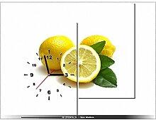 art-gallery XXL–60x 60cm–Zitrone–Wanduhr Tabelle–Deco Moderne–New Design