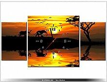 art-gallery XXL–80x 40cm–Afrika–Wanduhr Tabelle–Deco Moderne–New Design
