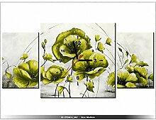 art-gallery XXL–80x 40cm–gelben Blüten–Mohnblumen–Wanduhr Tabelle–Deco Moderne–New Design