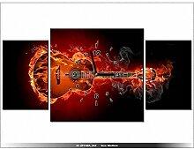 art-gallery XXL–80x 40cm–Gitarre in Flammen–Wanduhr Tabelle–Deco Moderne–New Design