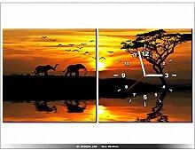 art-gallery XXL–80x 40cm–Landschaft afrikanischen–Wanduhr Tabelle–Deco Moderne–New Design