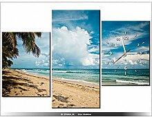 art-gallery XXL–90x 60cm–Tropen–breezy421–Wanduhr Tabelle–Deco Moderne–New Design