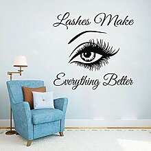 Art Home Sticker Lashes Quotes Wall Decal Salon