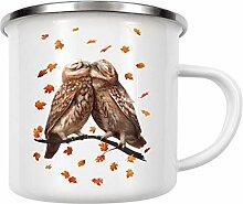 artboxONE Emaille Tasse Autumn Owls von Valeriya