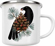 artboxONE Emaille Tasse Bird & Berries von