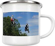 artboxONE Emaille Tasse Flying Motorbikes von