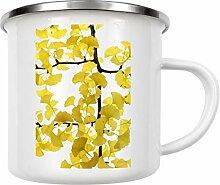 artboxONE Emaille Tasse Ginko von Tan Kadam -