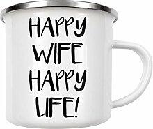 artboxONE Emaille Tasse Happy Wife Happy Life! von