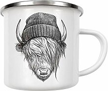 artboxONE Emaille Tasse Highland Cattle von Nikita