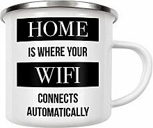 artboxONE Emaille Tasse Home WiFi von AB1 Edition