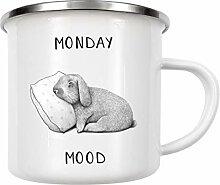 artboxONE Emaille Tasse Monday Mood von Valeriya