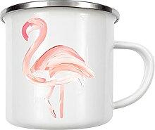 artboxONE Emaille Tasse Painted Flamingo von Gal