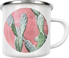 artboxONE Emaille Tasse Pink Wall Cactus von