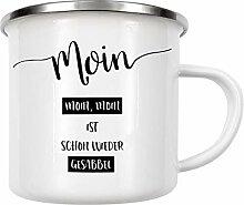artboxONE Emaille Tasse Plattdeutsch Moin, Moin