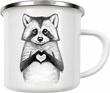 artboxONE Emaille Tasse Raccoon with Heart von