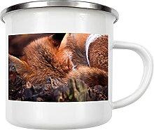 artboxONE Emaille Tasse Schlafender Fuchs von