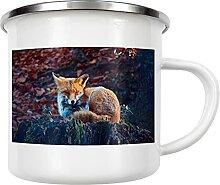 artboxONE Emaille Tasse Verschlafener Fuchs von